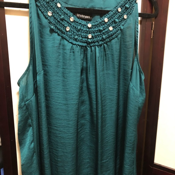 Lane Bryant green blouse with crystals 18
